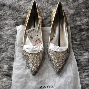Zara Gold Ombre' Glitter Flats